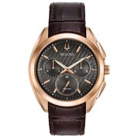 BULOVA Bulova Mens Textured Dial Chronograph Leath