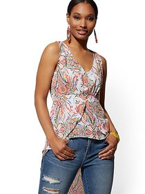 White Multicolor-Print Hi-Lo Blouse - New York & C