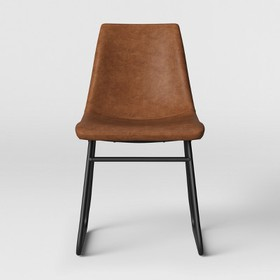 Bowden Faux Leather and Metal Dining Chair - Proje