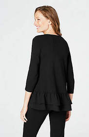 Wearever Mixed-Media Ruffled-Hem Top