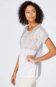 Smocked & Embroidered Knit Top