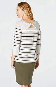 Striped Knit Tie-Back Top