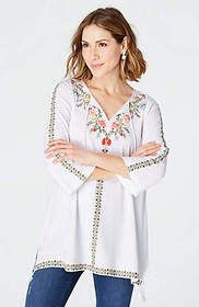 Embroidered Tasseled Knit Tunic