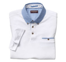 Johnston Murphy Print-Collar Birdseye Polo
