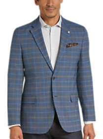 Nautica Blue Plaid Modern Fit Sport Coat