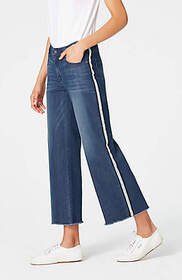 High-Rise Side-Striped Cropped Jeans