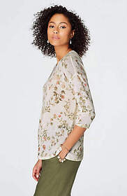Linen & Rayon Floral Pullover