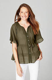 Tiered Ruffle-Sleeve Peasant Top