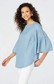 Tencel® Indigo Ruffle-Sleeve Top