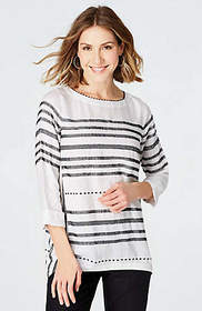 Embroidered-Stripes Linen Top
