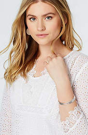 Lace-Trimmed Eyelet Top