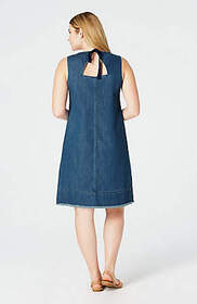 Denim Fringed-Hem Dress