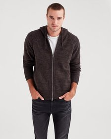 7 For All Mankind Zip Through Sweater Hoodie in Bl