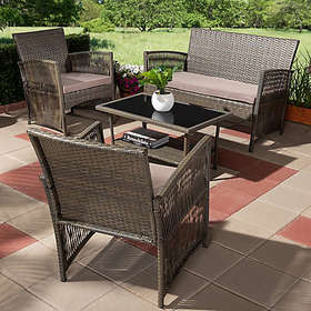 Baxton Studio Arto 4-Piece Patio Set in Brown/Dark