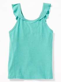 Go-Dry Ruffled-Strap Performance Tank for Girls