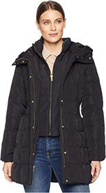Cole Haan Down Coat with Bib Front and Dramatic Ho