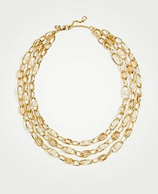 Pearlized Chain Tiered Necklace