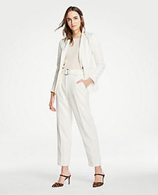 Belted Pleated Pants in Doubleweave