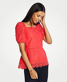 Eyelet Square Neck Peplum Top
