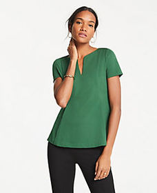 Ponte Split Neck Top