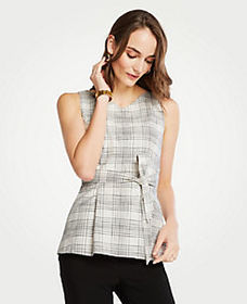 Plaid Tie Waist Shell