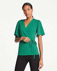 Matte Jersey Belted Wrap Top