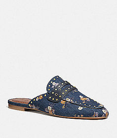 Coach faye loafer slide with painted floral bow pr