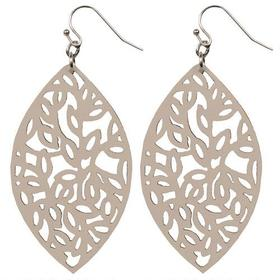 Black Rivet Ivory Laser Cut Leather Hanging Earrin