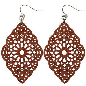 Black Rivet Brown Laser Cut Leather Hanging Earrin