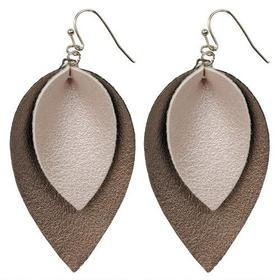 Black Rivet Silver Two-Tone Leather Leaf Hanging E