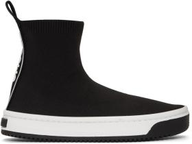Marc Jacobs Black Solid Logo Dart Sock Sneakers