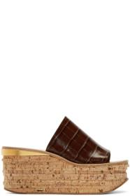 Chloé Brown Croc Camille Wedge Mule Sandals