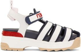 Fendi White & Navy T-Rex Platform Sandals
