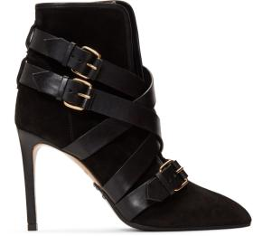 Balmain Black Suede Jackie Ankle Boots