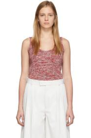 Bottega Veneta Red & White Knit Pattern Tank Top