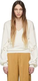 Chloé Off-White Lace-Trimmed V-Neck Sweater