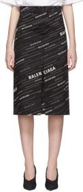 Balenciaga Black Logo Pleat Skirt