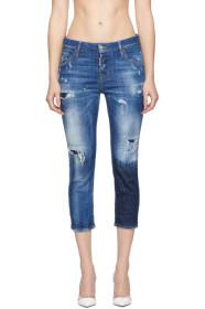 Dsquared2 Blue Acid Green Spots Cool Girl Cropped