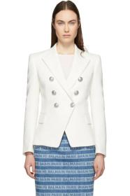 Balmain White Tweed Double-Breasted Blazer