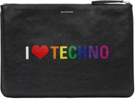 Balenciaga Black 'I Love Techno' Pouch