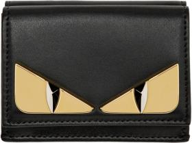 Fendi Black Micro 'Bag Bugs' Trifold Wallet