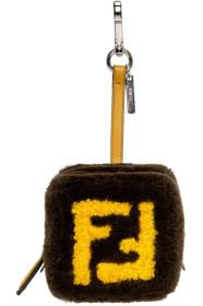 Fendi Brown & Yellow Shearling 'Forever Fendi' Key