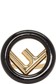Fendi Gold & Black 'F is Fendi' Ring