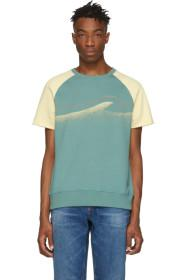 Nudie Jeans Off-White & Green Colors Sune T-Shirt