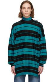 Balenciaga Black & Blue Striped Turtleneck