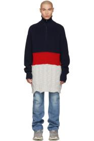 Balenciaga Navy & Red High Neck Sweater
