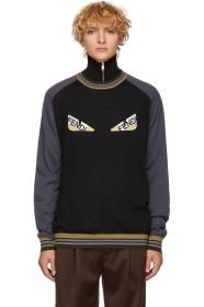 Fendi Black & Grey Striped 'Bag Bugs' Sweater