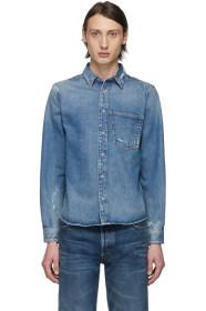 Balenciaga Blue Denim Rose Shrunk Shirt