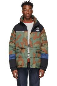 Off-White Green & Brown Camo Down Puffer Jacket