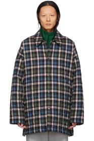 Balenciaga Blue Check Flannel Padded Shirt Coat
